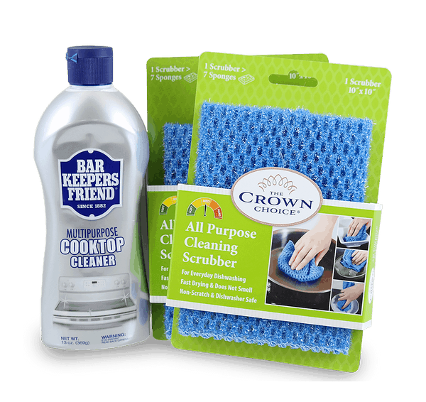 Bar Keepers Friend Cooktop Cleanser Liquid (13 OZ) and TWO All Purpose Scrubber Cloth