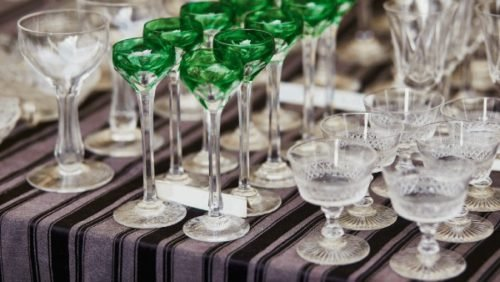 crystal glasses rows