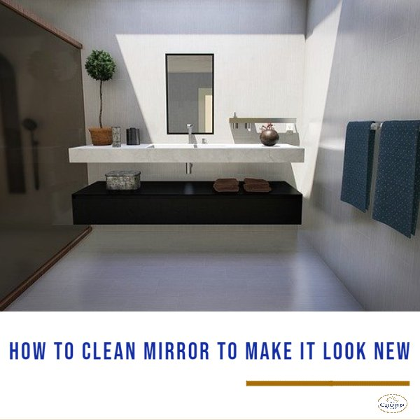 How to Clean Mirror: Cleaning large mirror located inside the bathroom