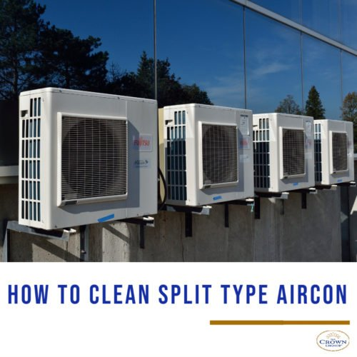 how to clean split type aircon with compressor located out side of the building