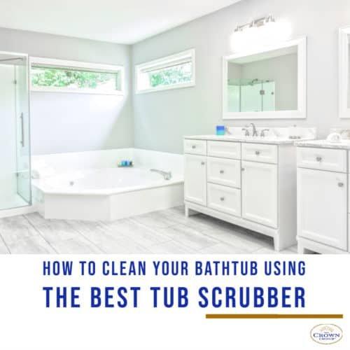 Big white bathroom cleaned using the best tub scrubber