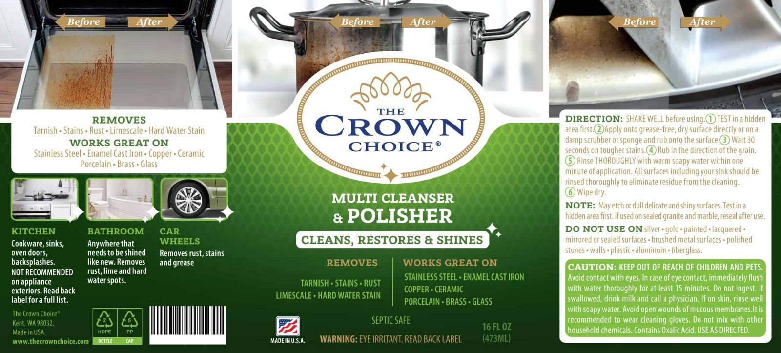 Stainless Steel Cleaner and Polish for Burnt Pots, Pans, Rust and more 3