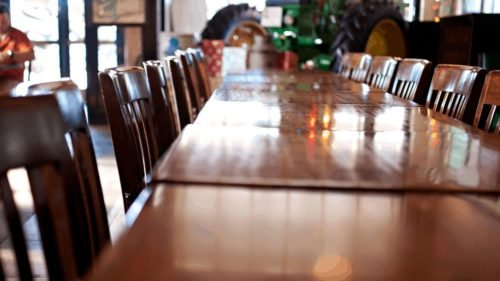long polished wood table