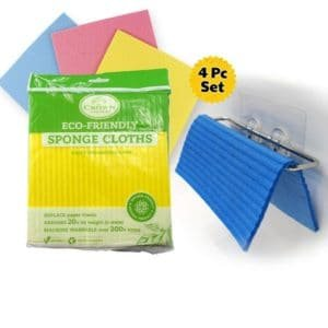 sponge cloth and dish cloth holder set for in sink and paper towel replacement