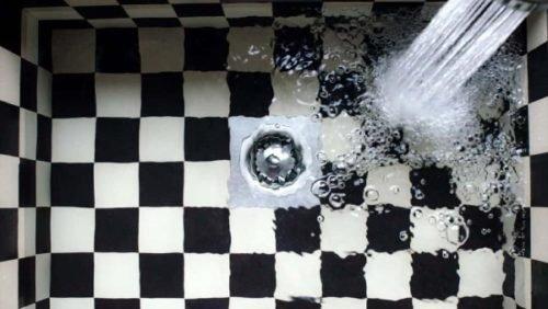 black and white shower tile