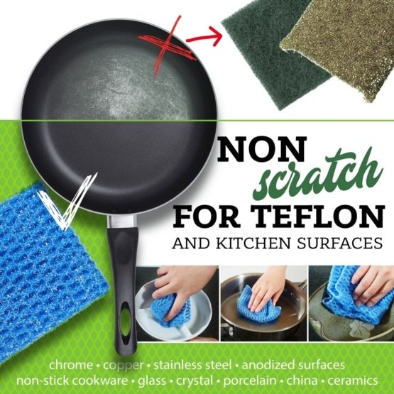 Kitchen Scrubber Set - Non-Scratch Heavy Duty Scouring Pad or Pot Scrubber Pads and NO Odor Dish Cloth Combo Pack 5