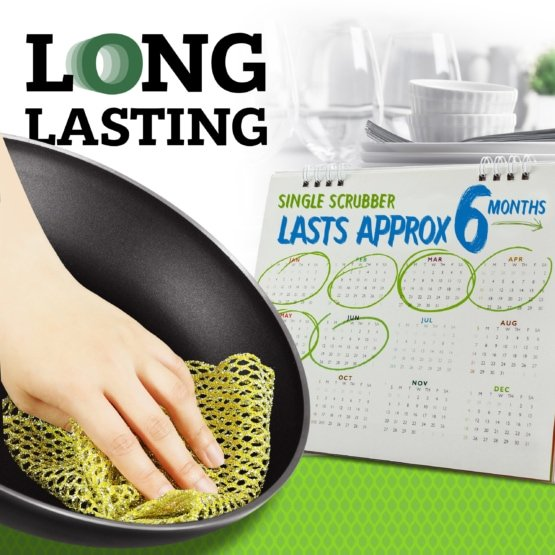 Non-Scratch Heavy Duty Scouring Pad or Pot Scrubber Pads and NO Odor Dish Cloth Combo Pack