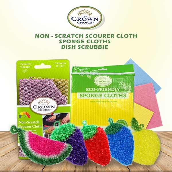 Dish Scrubbie Variety 5 Pack with Non-Scratch Scouring Pad and Sponge Cloth Set