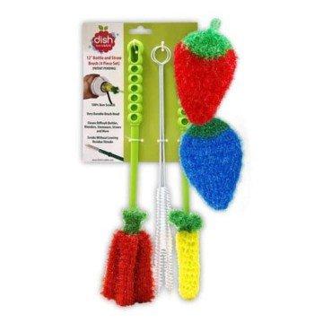 dish scrubbie bottle brush cleaner set strawberry blueberry