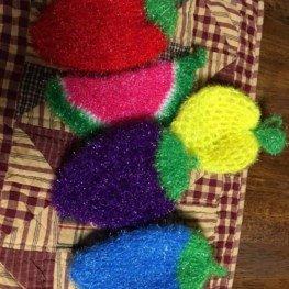 Strawberry Scrubbie - No odor cloth scrubber, sponge alternative 6