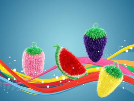 Blueberry Dish Scrubbie - Cute fruit crocheted pot scrubber 3
