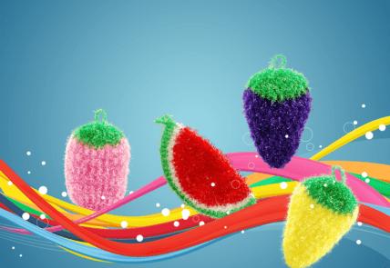 Eggplant Scrubbie - Vegetable crocheted purple scrubby 3
