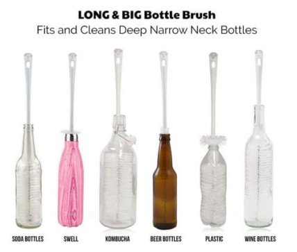 Water Bottle Cleaner with Straw Brush Set – 16″ long and fits inside narrow necks like beer and wine bottles 3