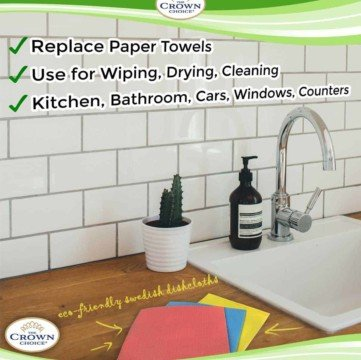 cellulose Sponge Cloth and Non-Scratch Scouring Pad Set (5 Pcs)