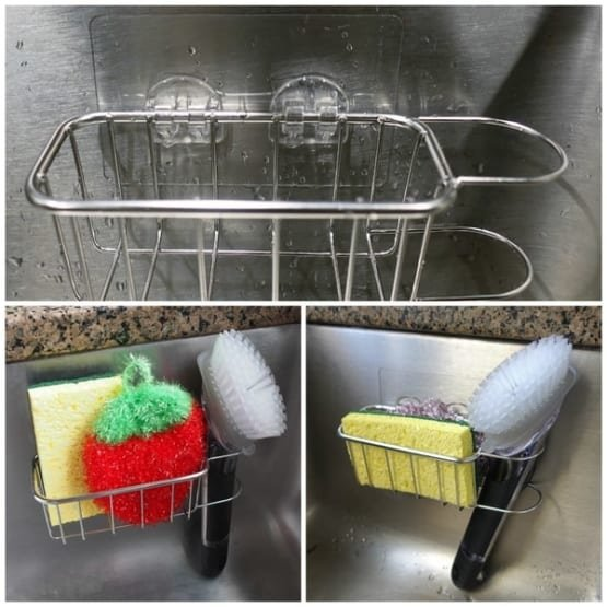 Best Kitchen Sink Caddy - Tidy your sink with this 2-in-1 in brush and kitchen sponge caddy 4