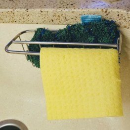 2-in-1 Kitchen Sink Caddy   Sponge + Dish Cloth Hanger Combo   Stainless Steel Uses Strong Adhesive 5