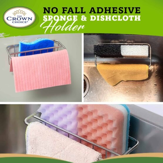 2-in-1 Kitchen Sink Caddy   Sponge + Dish Cloth Hanger Combo   Stainless Steel Uses Strong Adhesive 3
