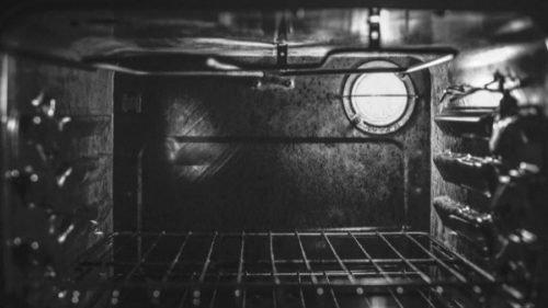 inside a big, burnt oven