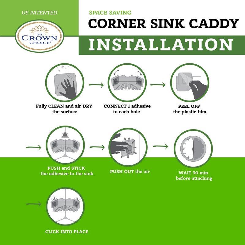 Corner Sink Caddy Space Saver — Best Sink Corner Sponge Brush Holder — Fits 2 Sponges and 1 Brush — Organizer Basket 3