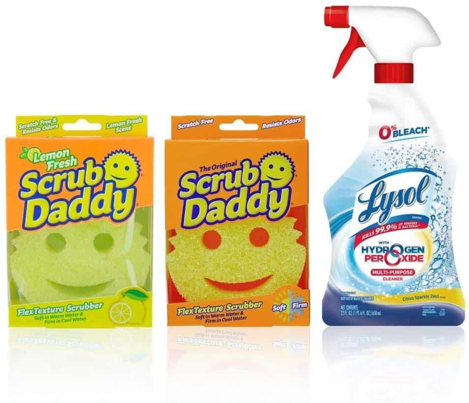 Lysol Hydrogen Peroxide Bathroom Cleaner carton and bottle