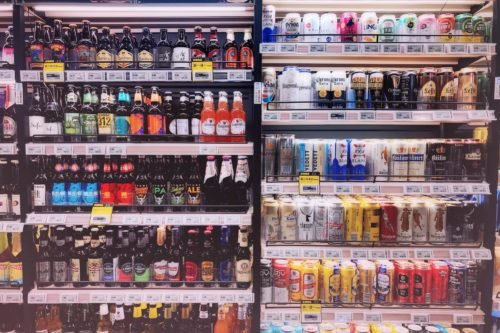 grocery fridge with assorted drinks