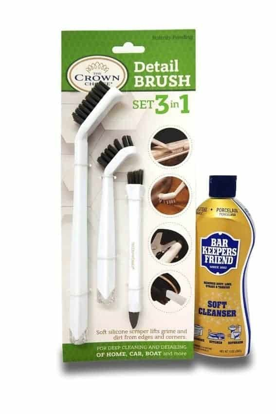 BAR KEEPERS FRIEND Soft Cleanser with 3-in-1 Detail Grout Cleaning Brush Set | Deep Clean