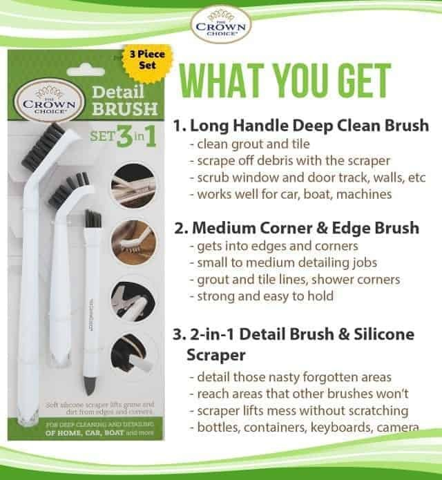 3-in-1 Grout Cleaning Brush Supplies to Deep Clean Tile Lines, Detail Kitchen, Scrub Bathroom, Shower