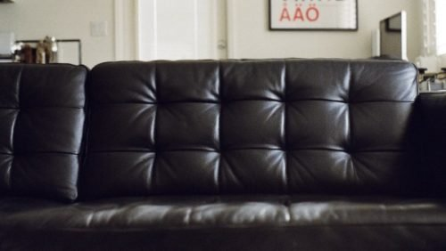 polished black couch